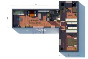 RMG modulový dům varianta Dvojmodul L2 půdorys